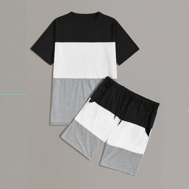 Brand Men's Jogger Sets 2019 Fashion Contrast Color Short Sleeve Casual Tracksuit For Men 2 Pieces Set Ensemble Homme Sportswear