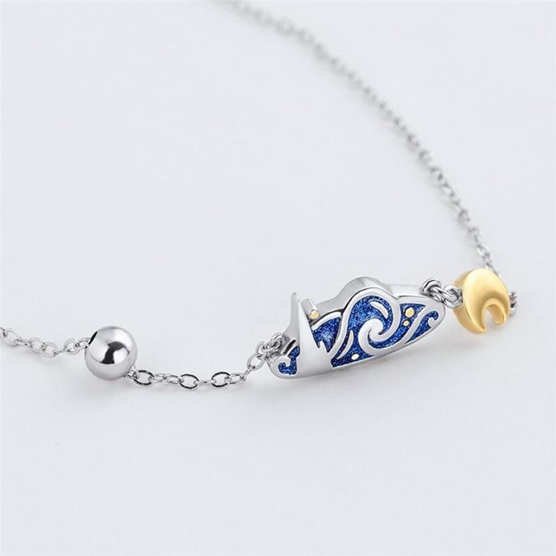 Sole Memory Creativity Van Gogh Blue Drop Glaze Starry Sky Golden Moon 925 Sterling Silver Female Necklace SNE496