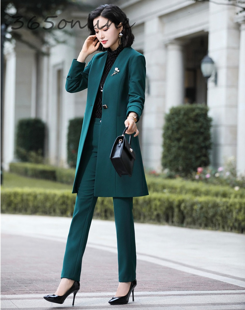 Fashion Uniform Styles Professional Business Suits for Women Office Work Wear Blazers Set Pantsuits Autumn Winter Outfits Set 24