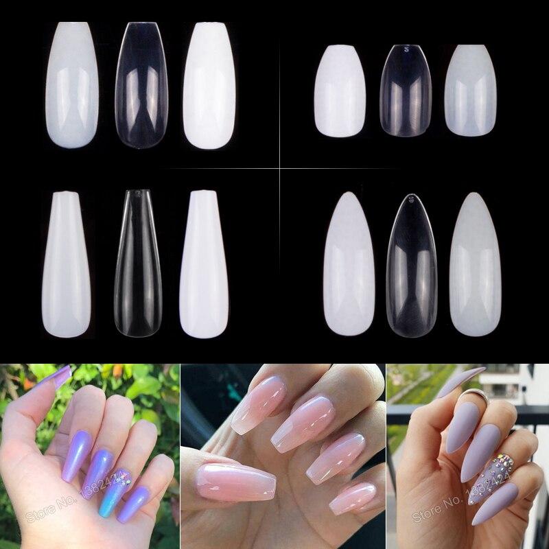 100pcs/Bag To 600pcs/Bag Ballerina Nail Art Tips False Coffin Nails Art Tips Flat Shape Full Cover Manicure Fake Nail Tips