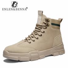 2021 mężczyźni buty skórzane wodoodporne zasznurować buty wojskowe mężczyźni nowa jesienna zima kostki lekkie buty dla mężczyzn Casual Non Slip tanie tanio ENLEN BENNA Podstawowe CN (pochodzenie) ANKLE Stałe Dla dorosłych NONE Okrągły nosek RUBBER Niska (1 cm-3 cm) 2902 leather boots