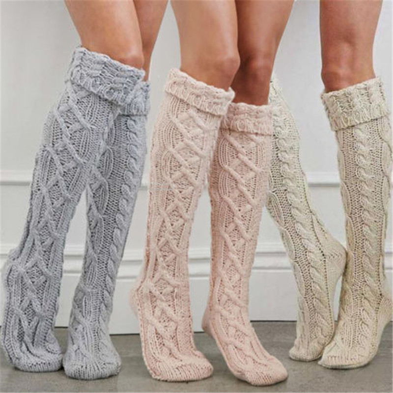 2019 Winter Women Girl Cable Knitted Warm Stockings Ladies Solid Crochet High Knee Long Stockings Women Leg Warmers