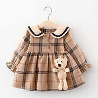 2021 Fall Newborn Baby Girl Dress Clothes Toddler Girls Princess Plaid Birthday Dresses For Infant Baby Clothing 0-2y Vestidos