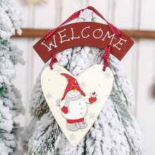 Christmas  Xmas Tree Home Wall Door Window Decor Wooden Hanging Welcome Sign With Heart Shape Pendant