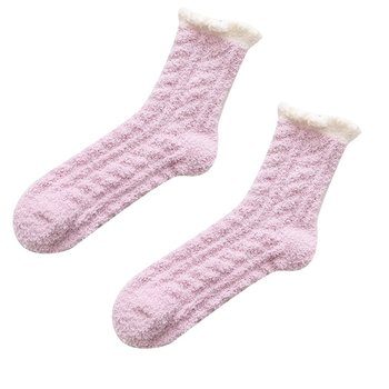 Ladies Women Winter Warm Soft Fluffy Bed Socks Lounge Slipper Coral Velvet Fleece Socks Femme image