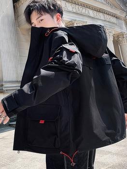 Korean Sportswear Men Fashion Loose Hooded Jacket Autumn Windbreaker Thick Hoodie Leisure Printing Pocket Tracksuit Clothing 3XL фото