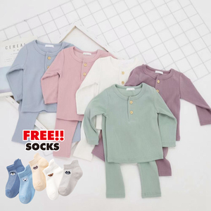 Kids Children Boys Girls Ribbed Fitted Pajamas Toddler PJS Top and Pants Sets Clothing Clothes Sleepwear Nightwear(China)