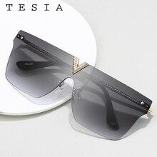 Rimless Sunglasses Tinted-Lens Rhinestone Eyewear Lentes-De-Sol Vintage Women Flat-Top