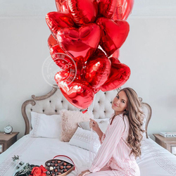 15pcs/lot 18inch Red Heart Love Balloons Valentines Day Pure Pink Color Foil Balloon Wedding Birthday Party Decoration Supplies