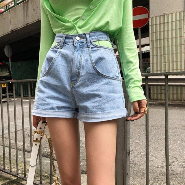 High Waist Denim Shorts Women Jeans Hollow Out Korean High Waisted Wide Leg Shorts Female 2020 Summer Streetwear Bottoms Girls 2