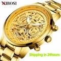 NIBOSI Herren Uhren Top Brand Luxus Goldene Skeleton Männer Uhr Business Wasserdichte Leucht Mode Männlichen Uhr Relogio Masculino