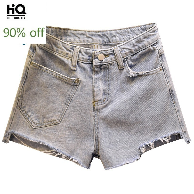 Harajuku Irregular Ripped Wide Leg Short Jeans Women Streetwear Casual Sexy Summer Denim Shorts High Waist Female 2020 Clothes
