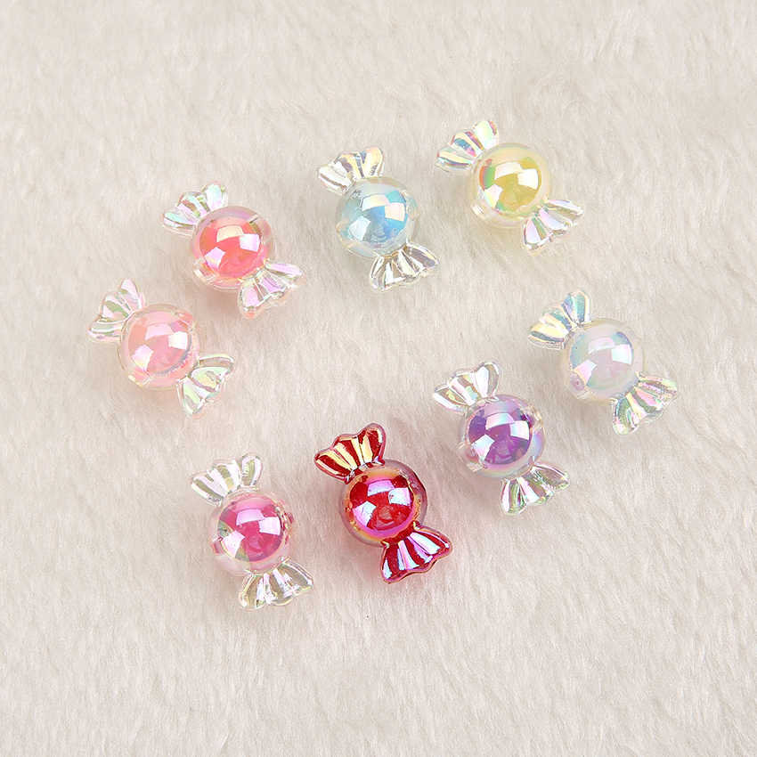 20pcs /lot kawaii Multicolor Cabochon resin  candy beads with hole for DIY Pendant and Charms
