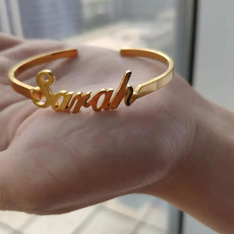 Custom Name Bracelets Personalized for Women Jewelry Men Bangles Stainless Steel Adjustable Open Custom Nameplate for Gift in Bangles from Jewelry Accessories