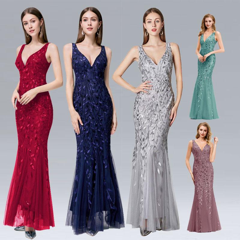 Beauty Emily V Neck Strapless Evening Dresses Silver Appliques Tulle Mermaid Dress Pleated Zipper Open Back Vestido De Noche