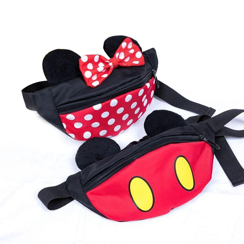 New Kids Waist Bag Mickey Girl Waist Bags For Kids High Capacity Kidney Bag Cartoon Banana Bags Minnie Boy Kids Fanny Pack