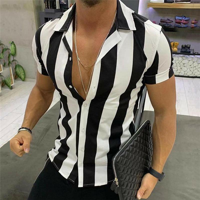 Fashion Men Striped Shirt Luxury Men's Slim Fit Shirt Short Sleeve Stylish Formal Casual Tee Tops Blusa Masculina