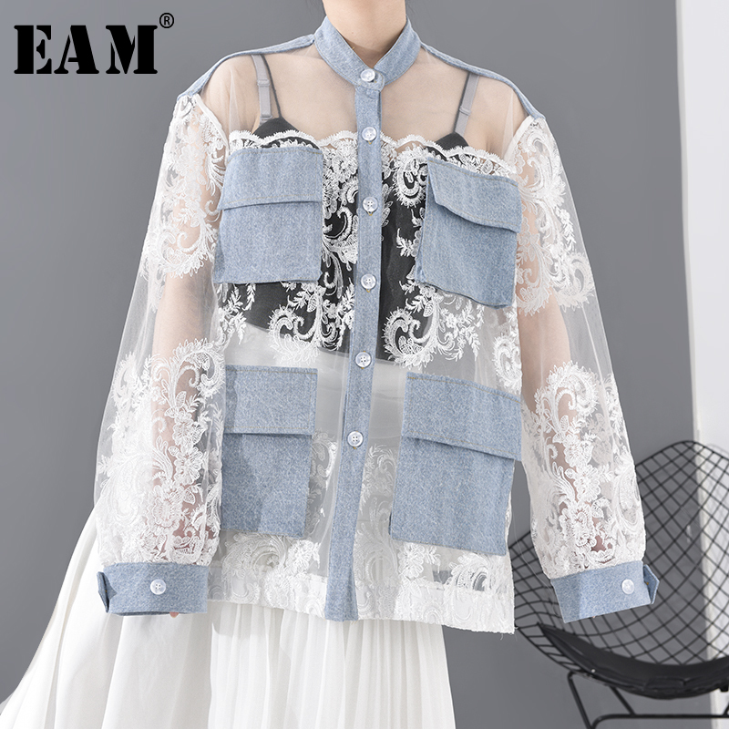 [EAM] Loose Fit White Lace Perspective Big Size Jacket New Stand Collar Long Sleeve Women Coat Fashion Tide Spring 2020 JU30105