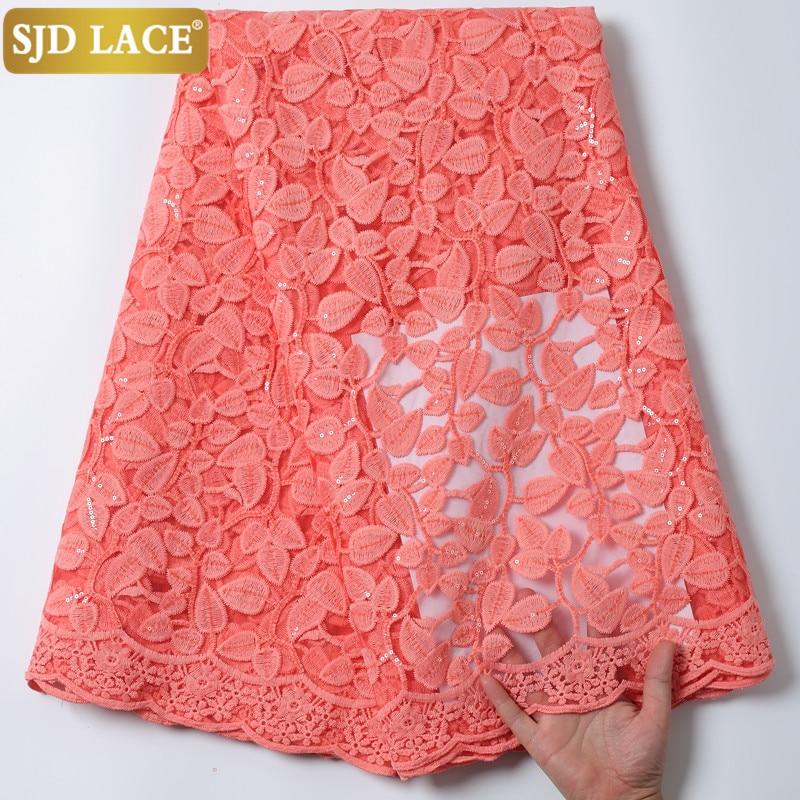 SJD dantel 2020 afrika dantel payetli kumaş fransız dantel kumaş yüksek kaliteli süt ipek dantel düğün parti elbise için dikmek A1997