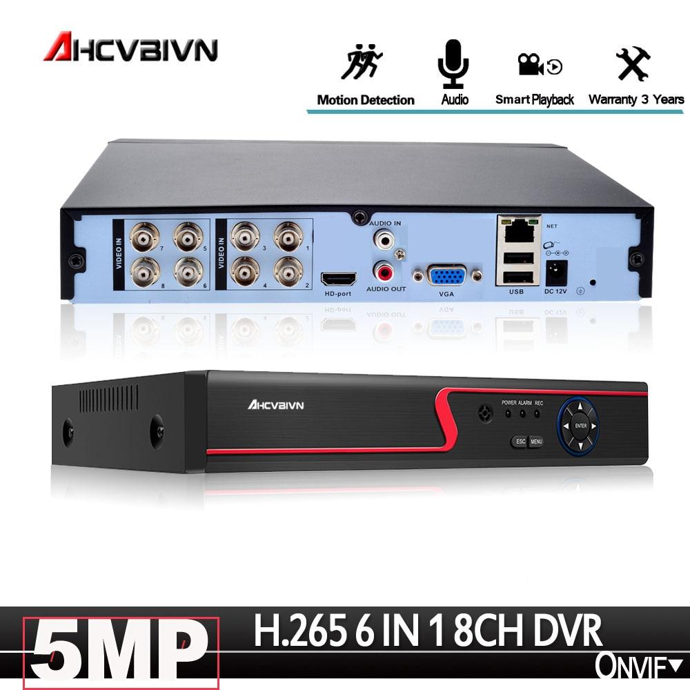6 w 1 H. 265 5MP ahd dvr NVR XVR CCTV 8Ch 1080P 4MP 5MP hybrydowy bezpieczeństwa nagrywarka dvr Onvif RS485 koncentryczny sterowanie PTZ P2P