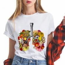 Lungs Flowers women t shirt Funny femme tshirt fashion ulzzang short sleeve fema