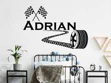 Custom Name Wall Sticker Tire Drift Car Printing Vinyl Sticker Racing Game Sports Sticker Home Kids Room Decoration Art D12