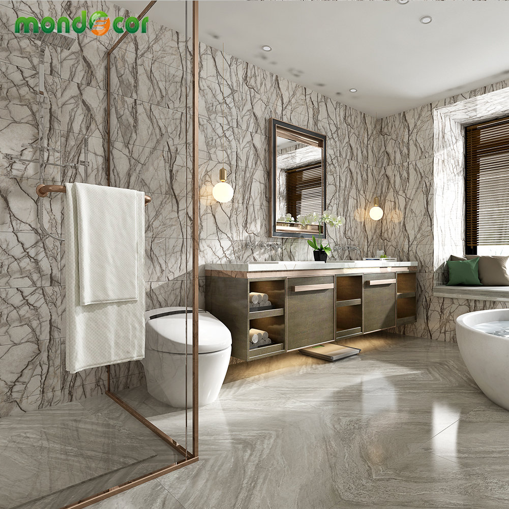 Waterproof Floor Stickers Self Adhesive Marble Wallpapers Bathroom Wall Sticker House Renovation Decals Ground Room Decoration