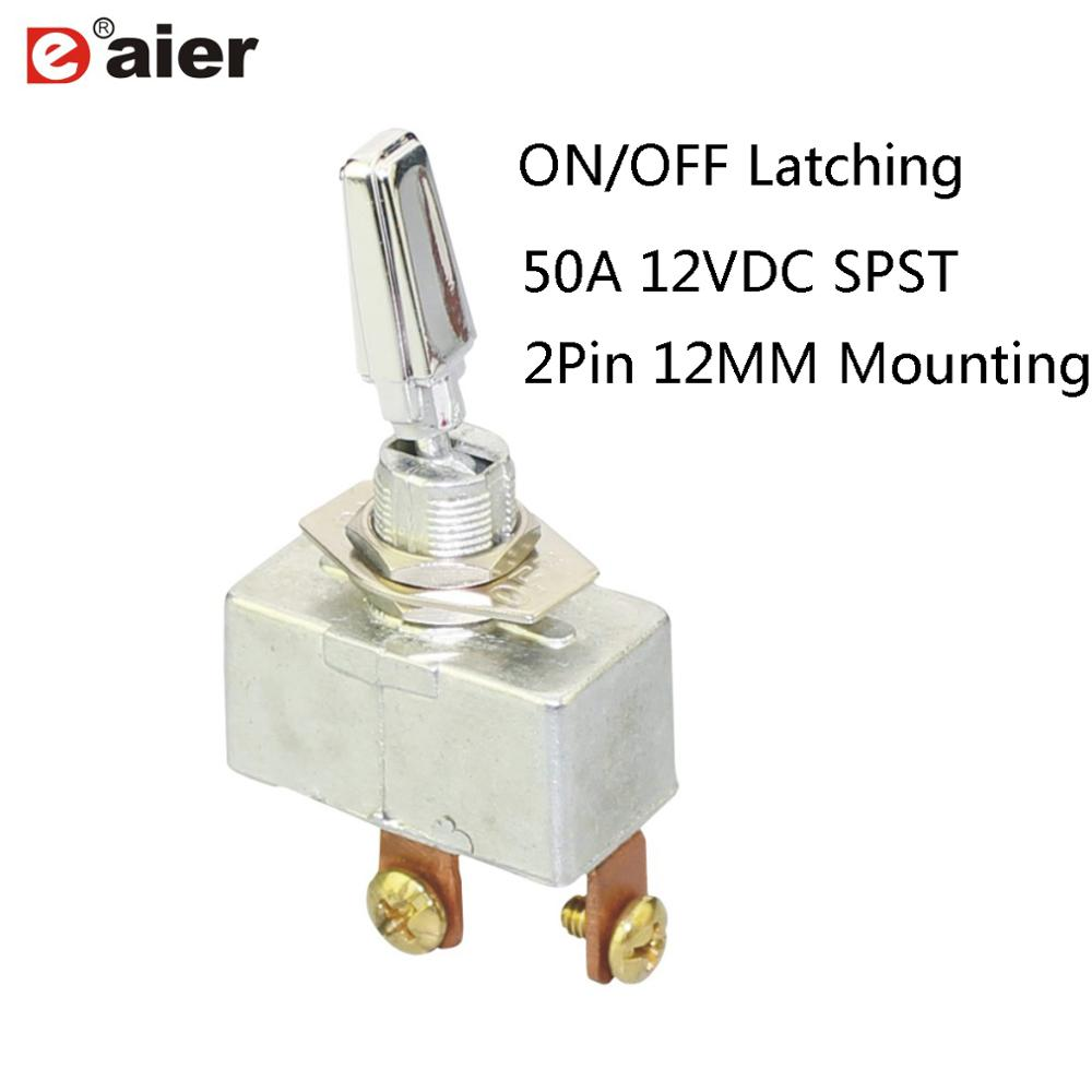 Toggle Switch 10Pcs ASW-13 12VDC 20A ON//OFF Green Lamp 12mm Mounting Thread Dia