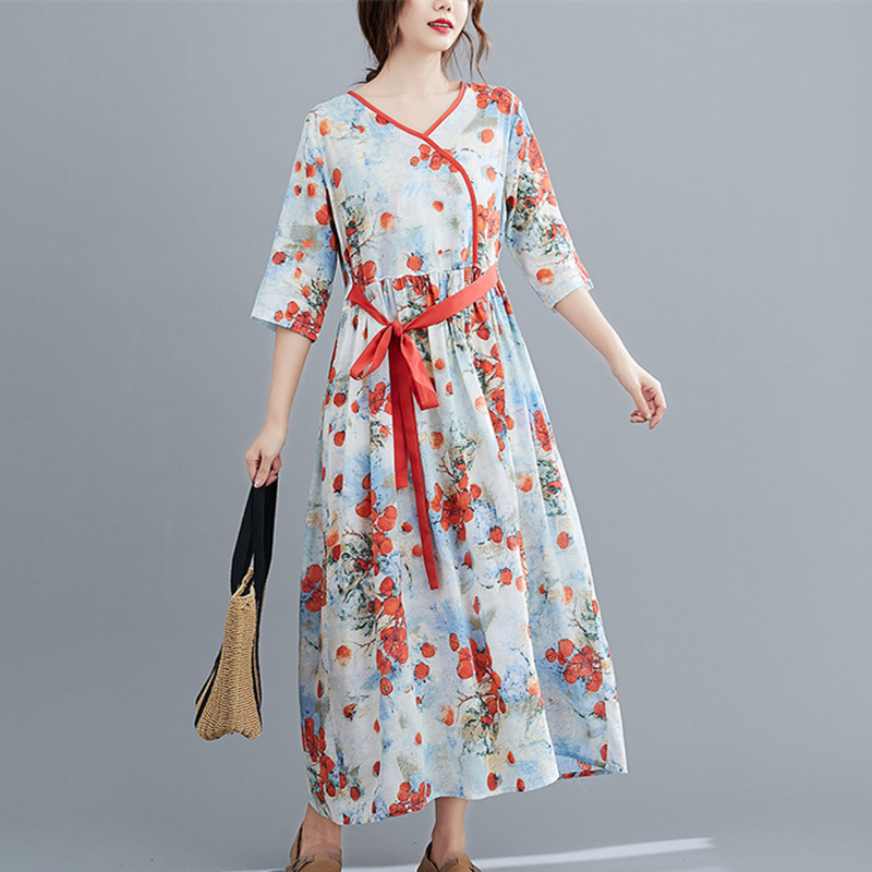 Half Sleeve Loose Summer Autumn Dress V-neck Sashes High Waist Women Dress Print Floral Vintage Dress Female Casual Midi Dress 6
