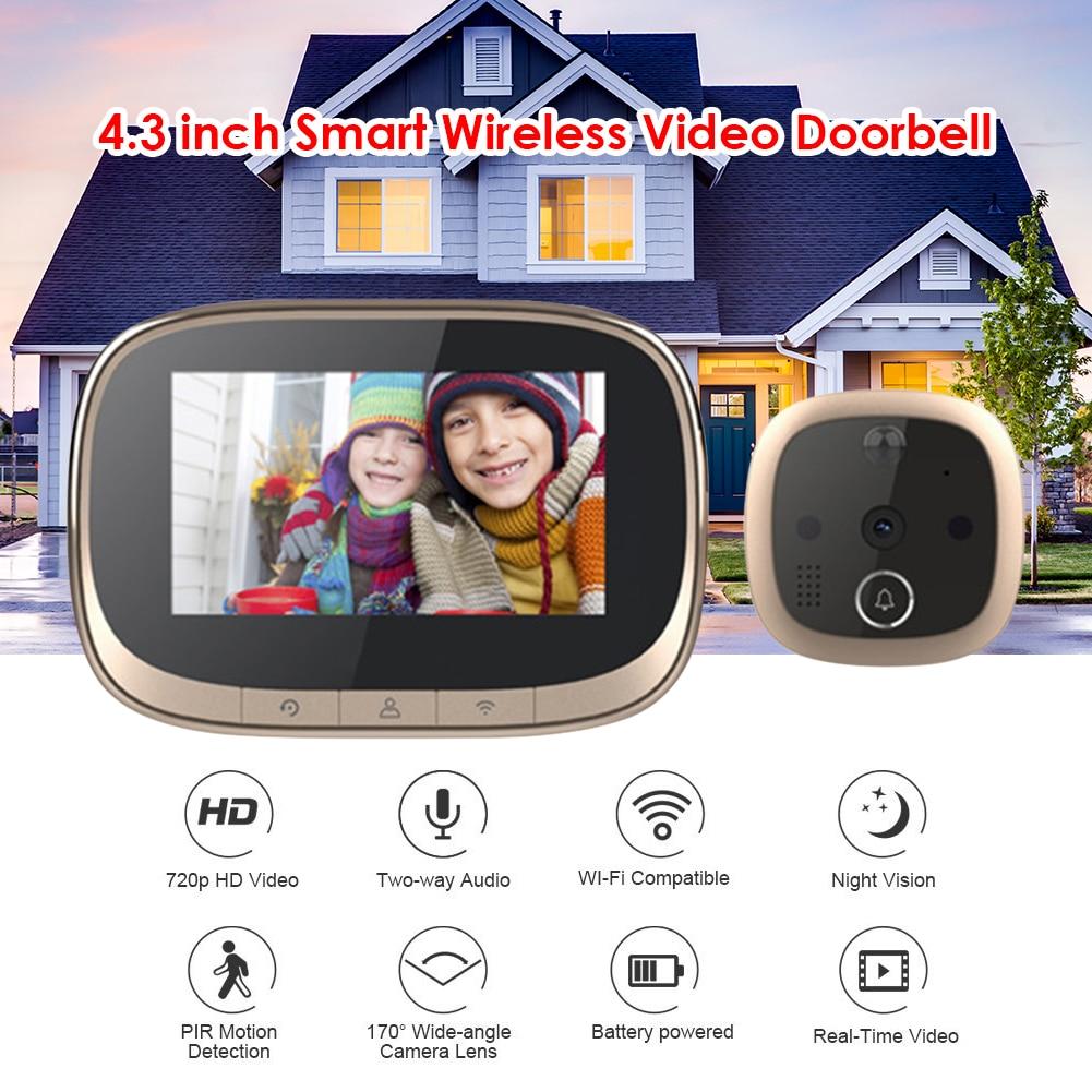 Smart IP WIFI Doorbell Video Intercom Digital Camera Doorbell Eye Peephole Viewer Ring for Security Surveillance