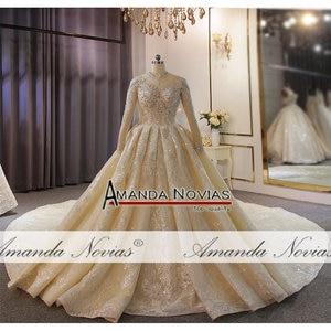Image 5 - Yüksek boyun çizgisi tam boncuk düğün elbisesi uzun tren ile müşteri sipariş amanda novias