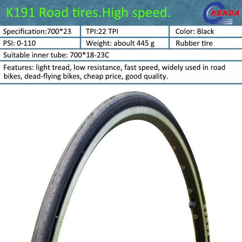 KENDA Road Bike Tire 700*23C Non-slip Not foldable Bicycle K191 22TPI 110PSI UK
