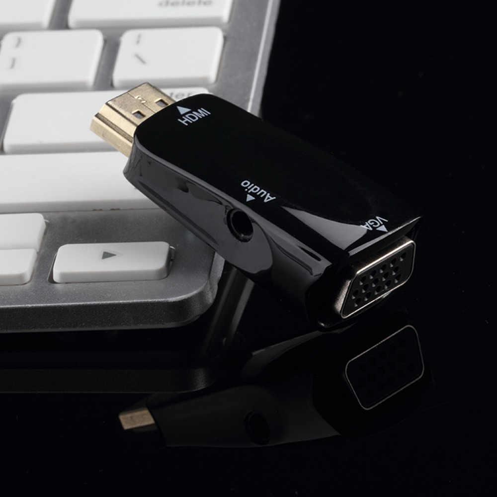 HDMI ذكر إلى أنثى VGA محول مربع محول مع الصوت كابل ل PC HDTV + 3.5 مللي متر AV الصوت كابل ل PC الأسود الأبيض
