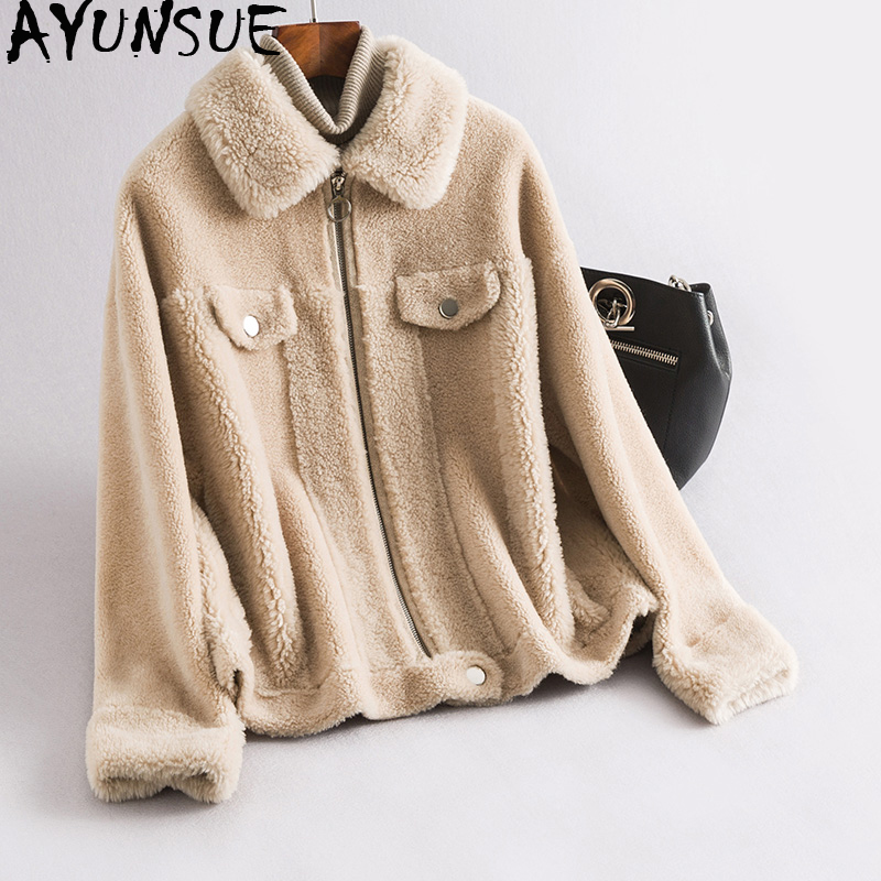 Winter Jacket Coats Short Real-Sheep-Shearling Korean Women AYUNSUE Mujer Wool Chaqueta