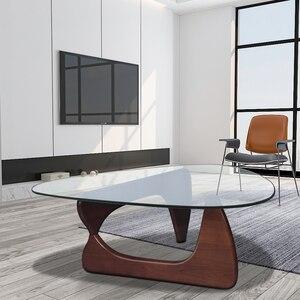 Trójkąt stolik meble do salonu szklanym wieczkiem orzech baza dom umeblowanie USA dostawa Dropshipping