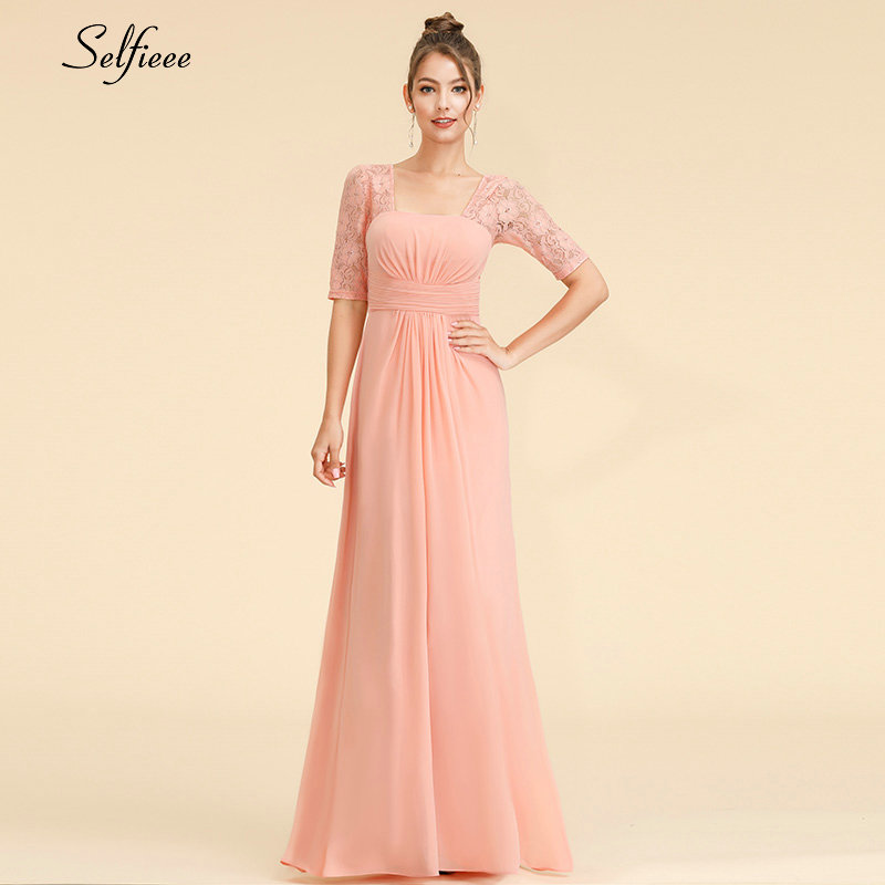 Elegant Maxi Dress A-Line Square Collar Half Sleeve Cheap Chiffon Women Dress Long Lace Party Dress Vestidos De Festa 2019