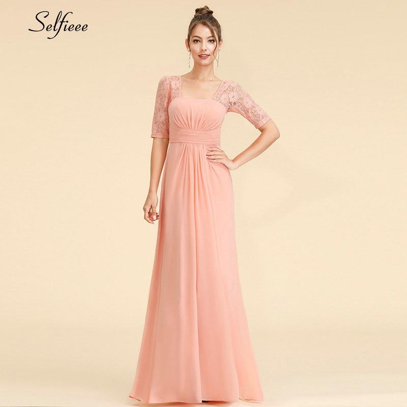 Elegant Maxi Dress A Line Square Collar Half Sleeve Cheap Chiffon Women Dress Long Lace Party Dress Vestidos De Festa 2019