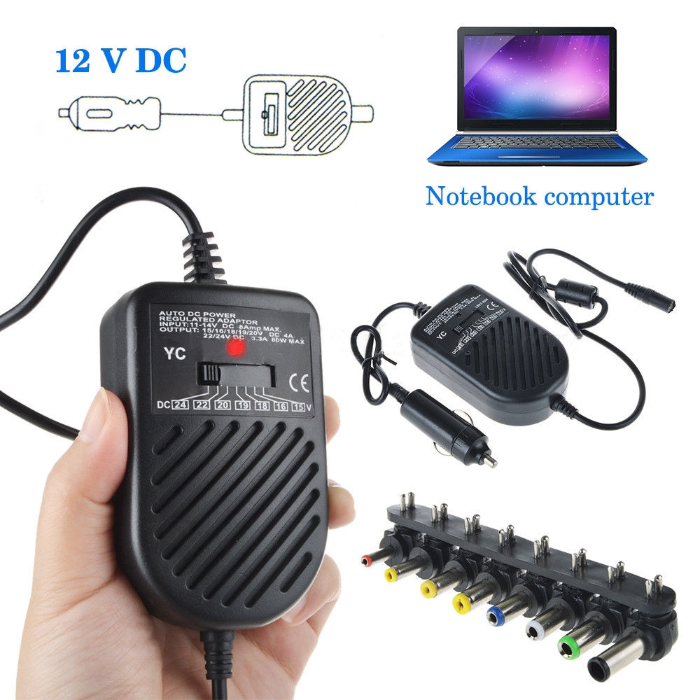 Universal 80W Portable Charger LED Auto Car Adapter Adjustable Power Supply Adapter Set 8 Detachable Plugs Car Laptop Notebook