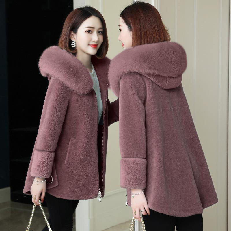 Winter Fur Jacket Womens Luxury Imitation Wool  Fur Coats Hooded Loose Long Outerwear Lady Plus Size Coat