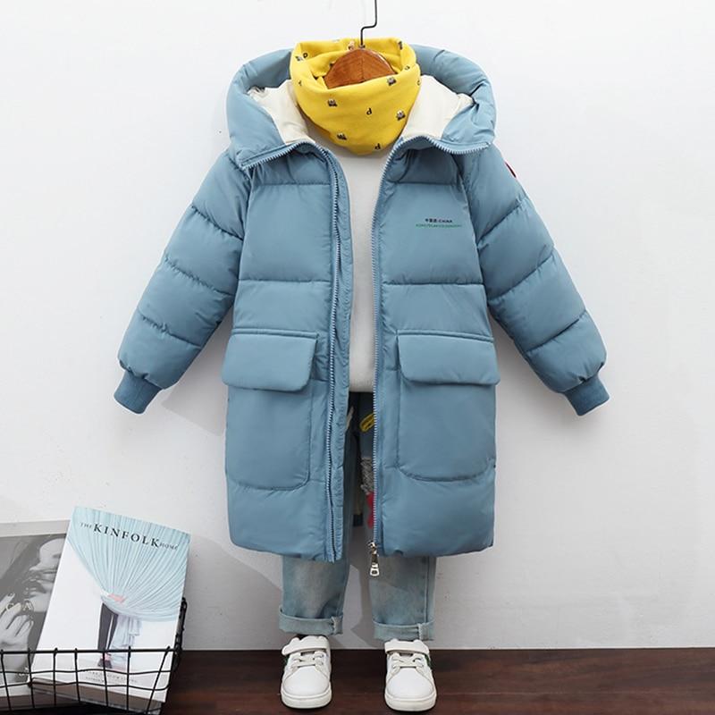Куртка для мальчиков и девочек, зимнее пальто, детские куртки, детское плотное длинное пальто, детская теплая верхняя одежда, пальто с капюш...