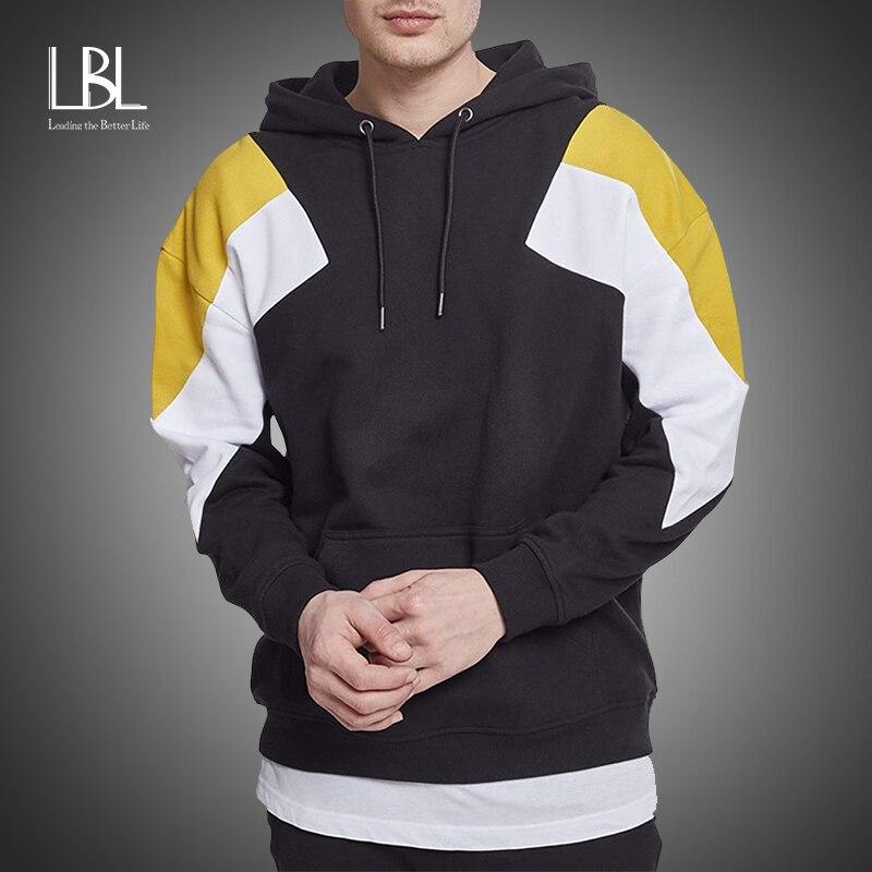 LBL Mens New Sweatshirt Fashion Casual Patchwork Slim Fit Hoodie Outwear Blouse Printing Hip Hop Winter Hoodies Men Street Wear