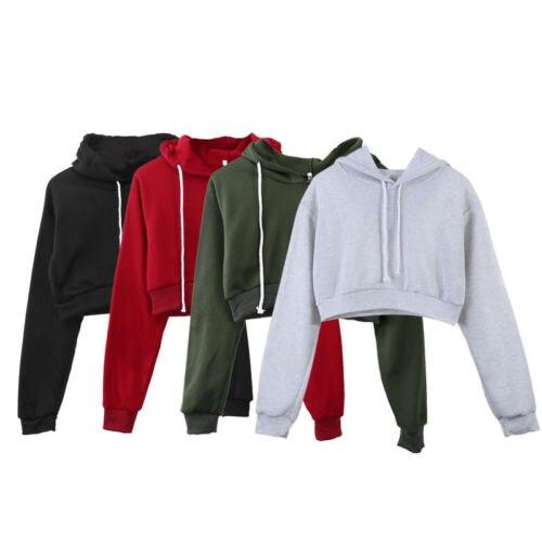 5 Colors New Womens Plain Hangover Crop Top Hooded Full Length Sleeves Hoodie Sweatshirt Solid Gary Winter Cotton Top Hoodies