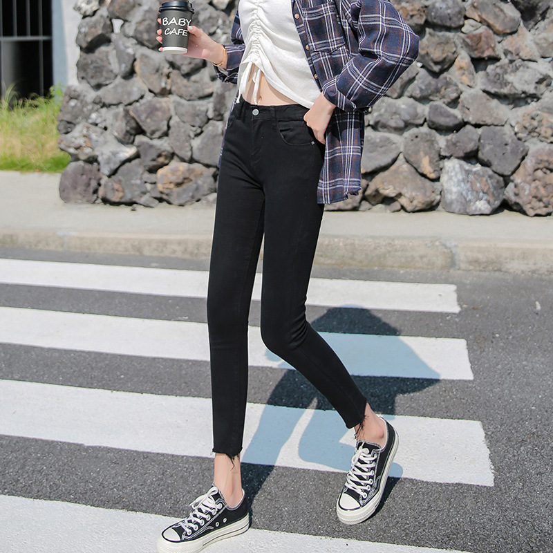 Jeans Women's 2020 Autumn New Style Korean-style Pencil Pants Black And White With Pattern High-waisted Elasticity Tight-Fit Cap