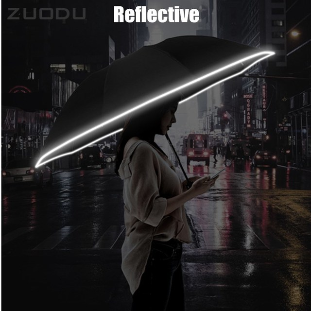 ZUODU Automatic Reverse Umbrella Men Led Luminous Windproof Folding Business Strong Umbrella Rain Men Car High Quality Umbrellas 5