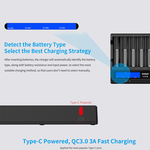 Image 4 - XTAR 18650 Battery Charger VC8=VC4+VC4S QC3.0 Fast Charger Type C Charging LCD Display USB Charger For 21700 20700 18650 Battery