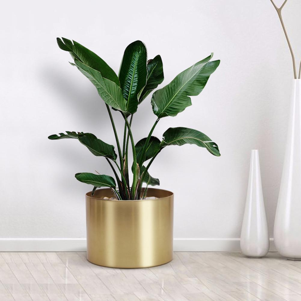 10*10cm/20*15cm Gold Vase Plant Pot Simple Metal Planter Pot Cylinder FlowerPots Shelf For Garden Home Decoration Indoor Plants