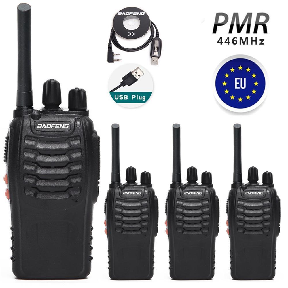 """4 шт. Baofeng BF-88E PMR446 иди и болтай Walkie Talkie """"иди и модернизация BF-888S UHF 446 МГц 16CH Портативный Ham CB радио с USB Зарядное устройство для ЕС пользователя"""
