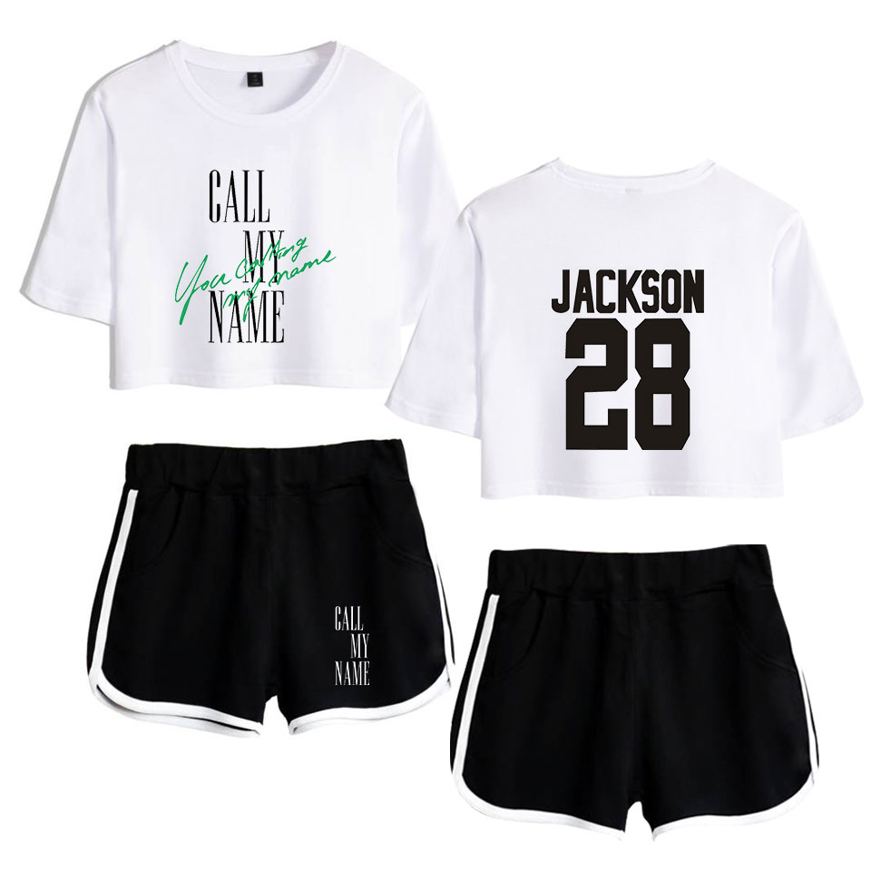 KPOP 2019 GOT7 New Album Call My Name Song You Calling My Name Women Two Piece Set Shorts+lovely T-shirt Hot Sale Clothes