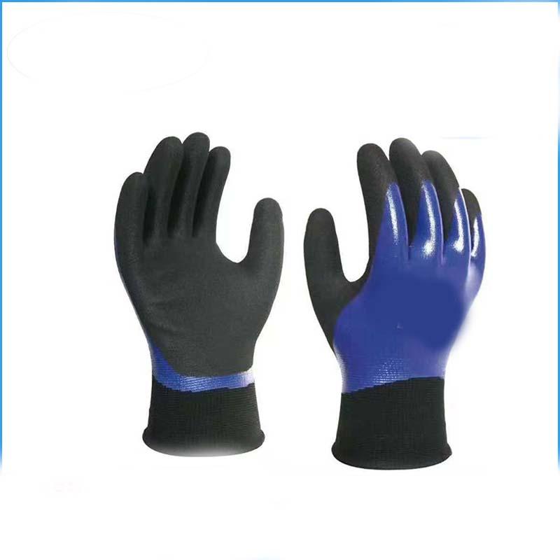Breathable Nylon Dipped Wrinkle Foam Gloves Waterproof Non-slip Wear Gloves