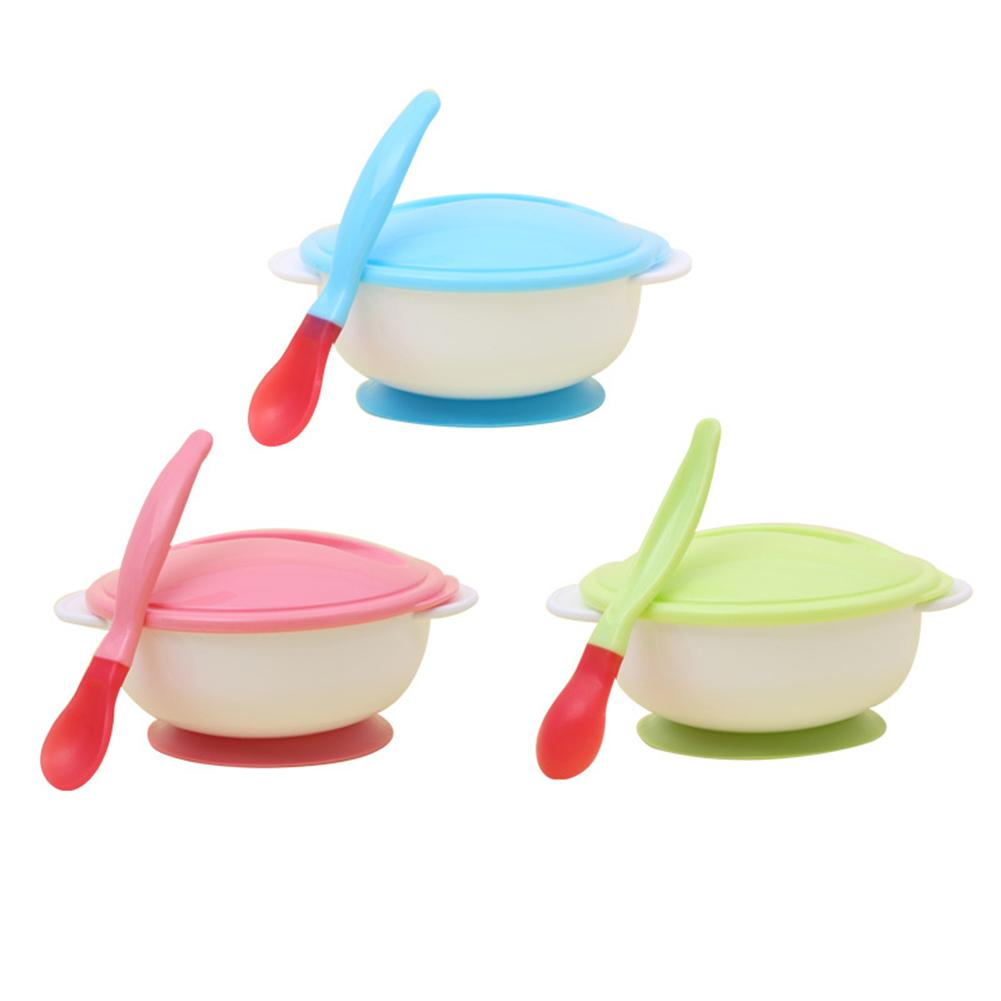 Baby Training Bowl Toddler Anti Slip Suction Bowl With Temperature Spoon Lid Feeding Tableware Baby Cutlery